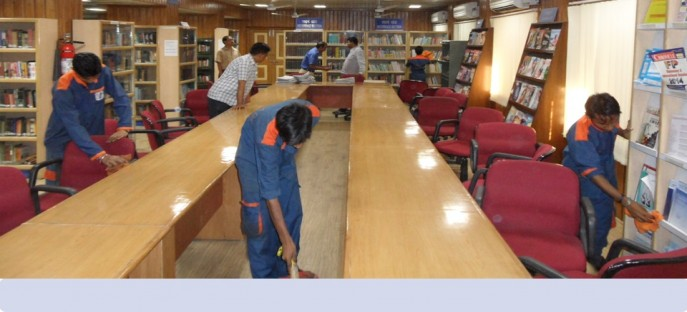 """<p><span style=""""font-size: small;""""><span style=""""color: rgb(128, 0, 0);""""><strong>Special cleanliness drive in the Library Building of ISTM held on 29/09/2014</strong></span></span></p>"""